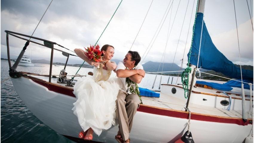 Свадебное фото на яхте