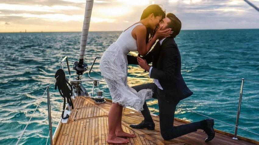 Предложение выйти замуж на яхте
